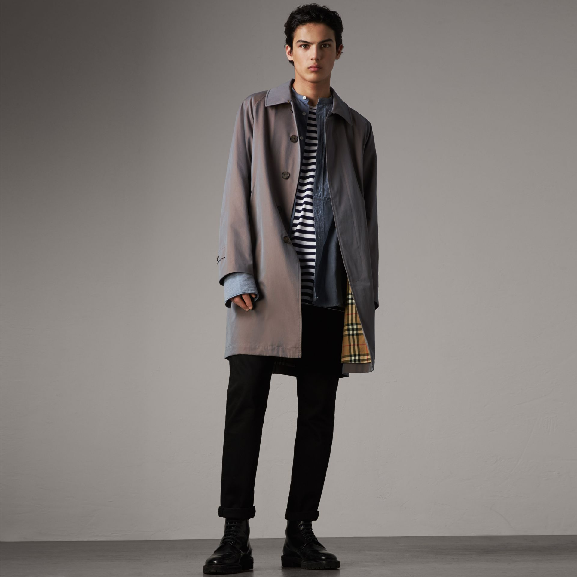 The Camden Car Coat in Lilac Grey - Men | Burberry Singapore - gallery image 0