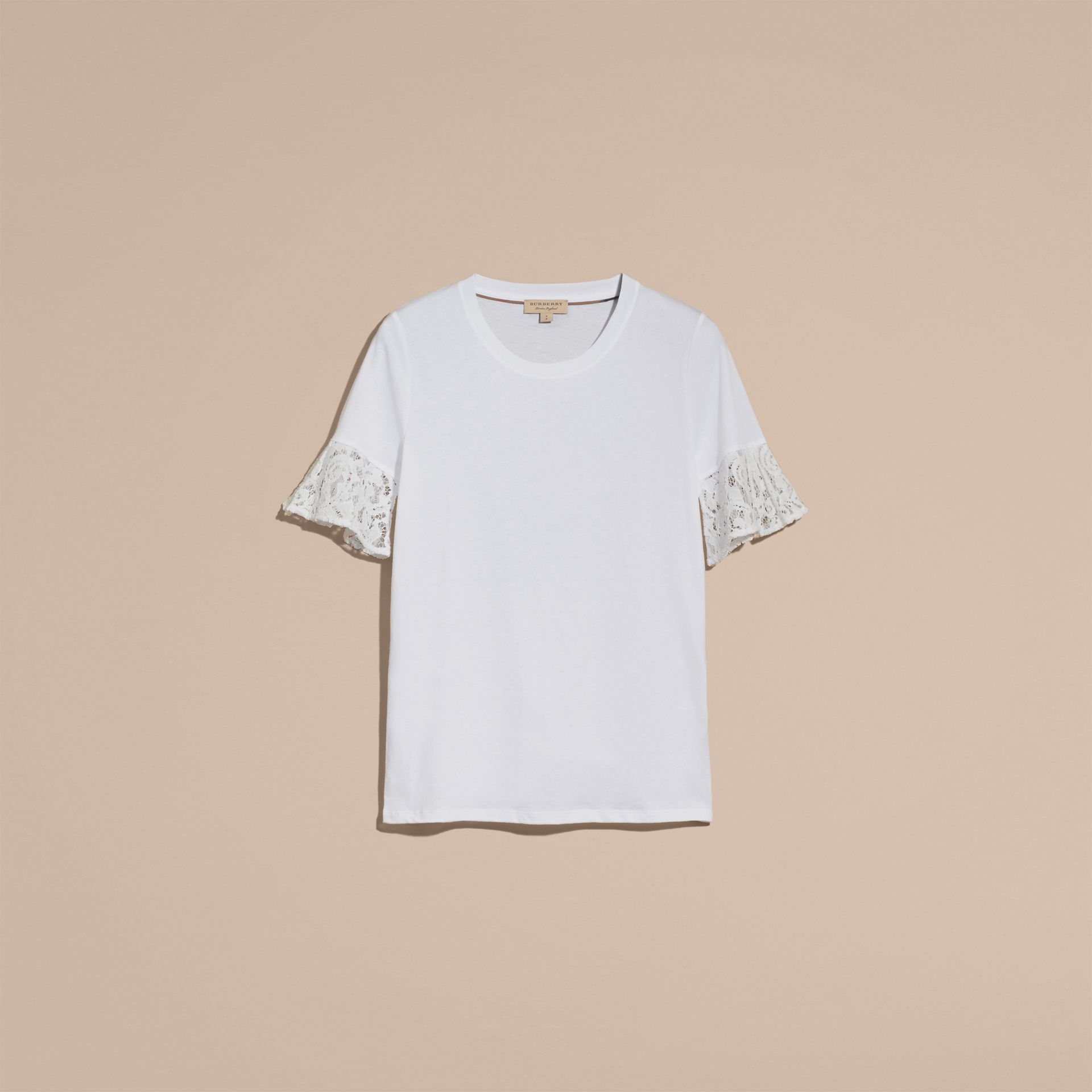 Lace Trim Cotton T-shirt in White - gallery image 4