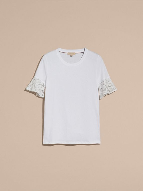 Lace Trim Cotton T-shirt in White - cell image 3