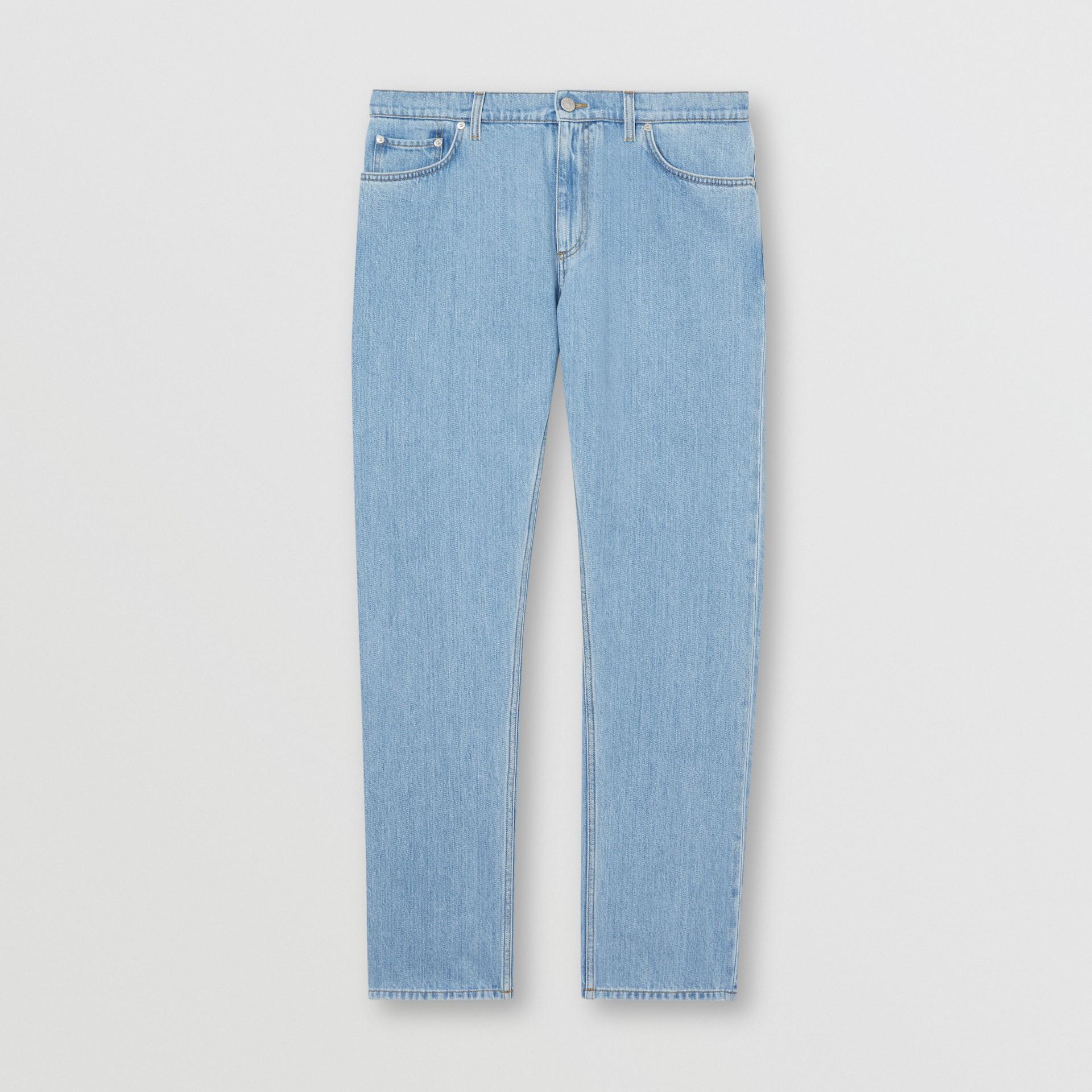 Straight Fit Japanese Denim Jeans in Light Indigo Blue - Men   Burberry - gallery image 3