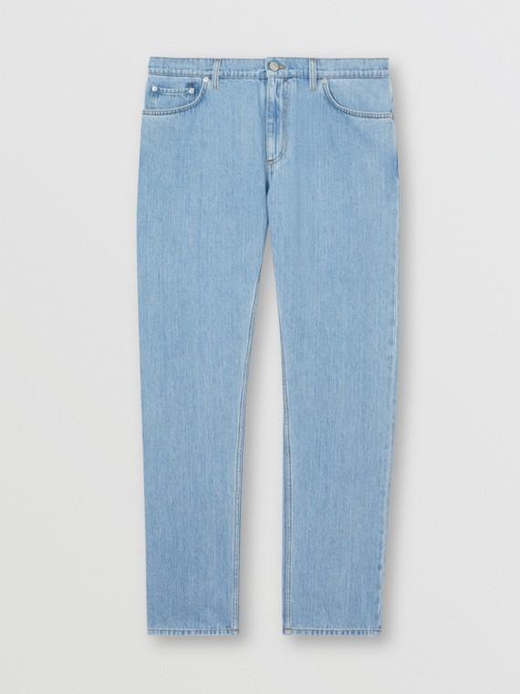 Straight Fit Japanese Denim Jeans in Light Indigo Blue