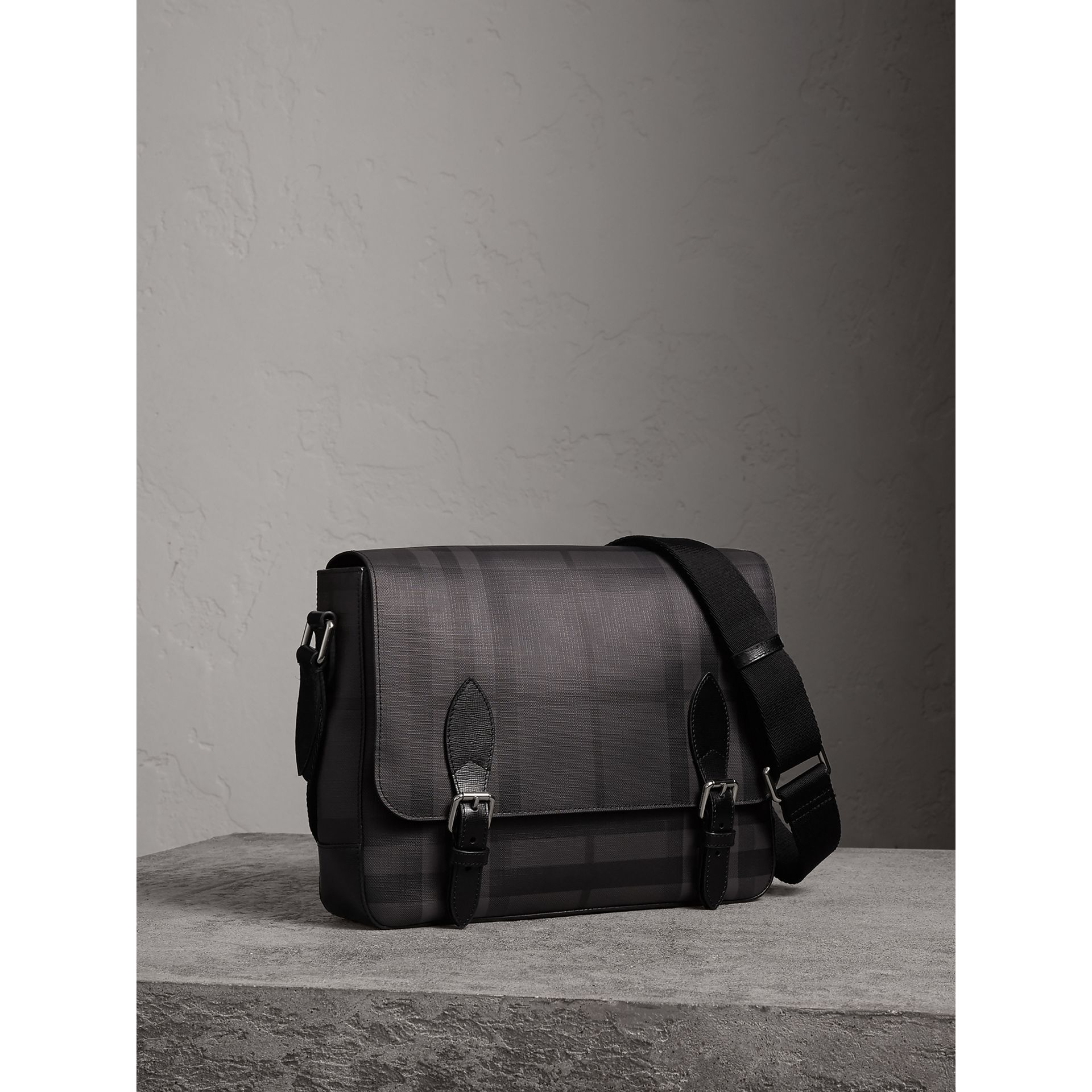 Medium Leather Trim London Check Messenger Bag in Charcoal/black - Men | Burberry United Kingdom - gallery image 5