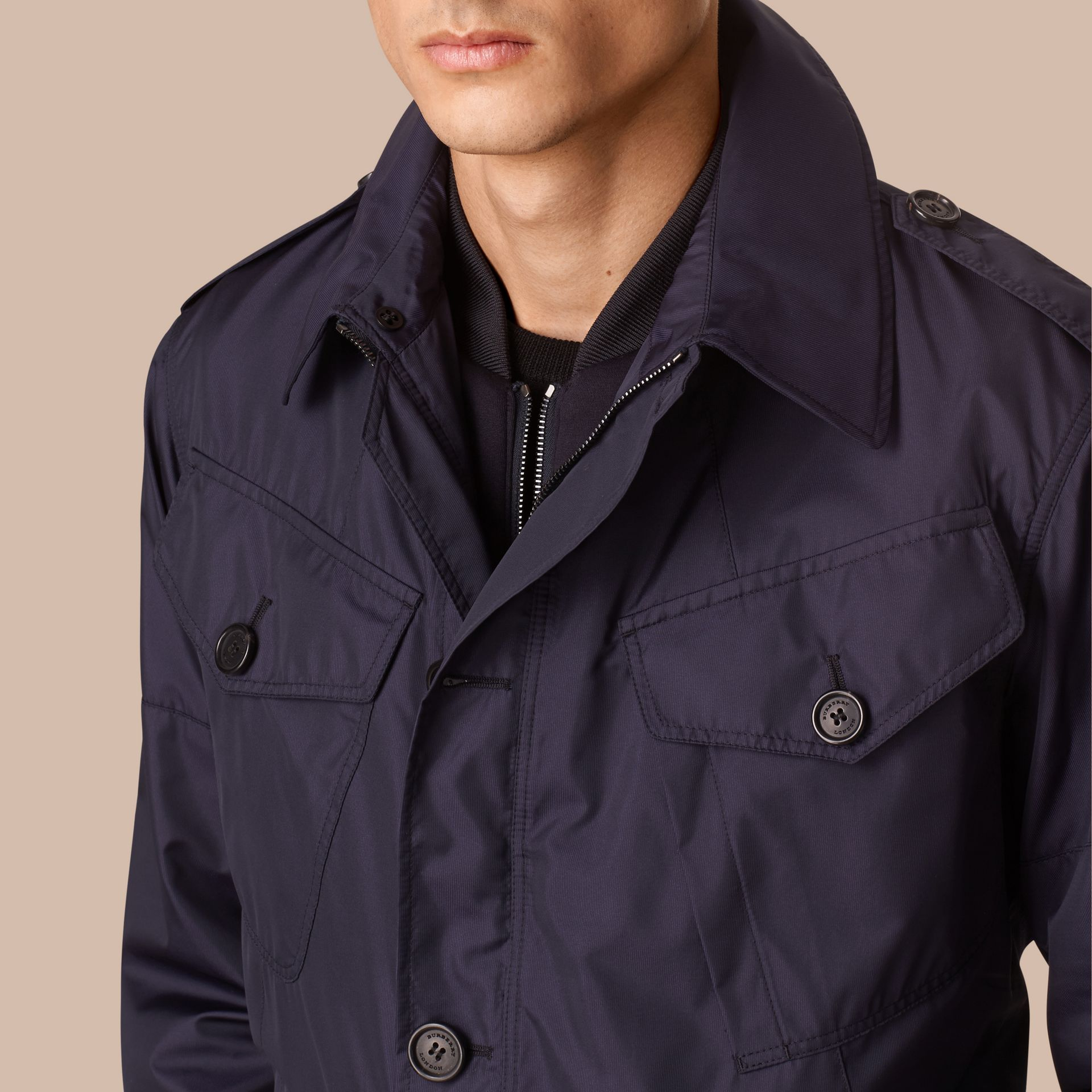 Ultramarine Silk Blend Field Jacket with Detachable Warmer - gallery image 2