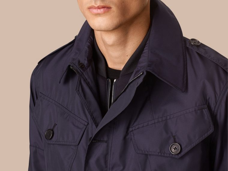 Ultramarine Silk Blend Field Jacket with Detachable Warmer - cell image 1
