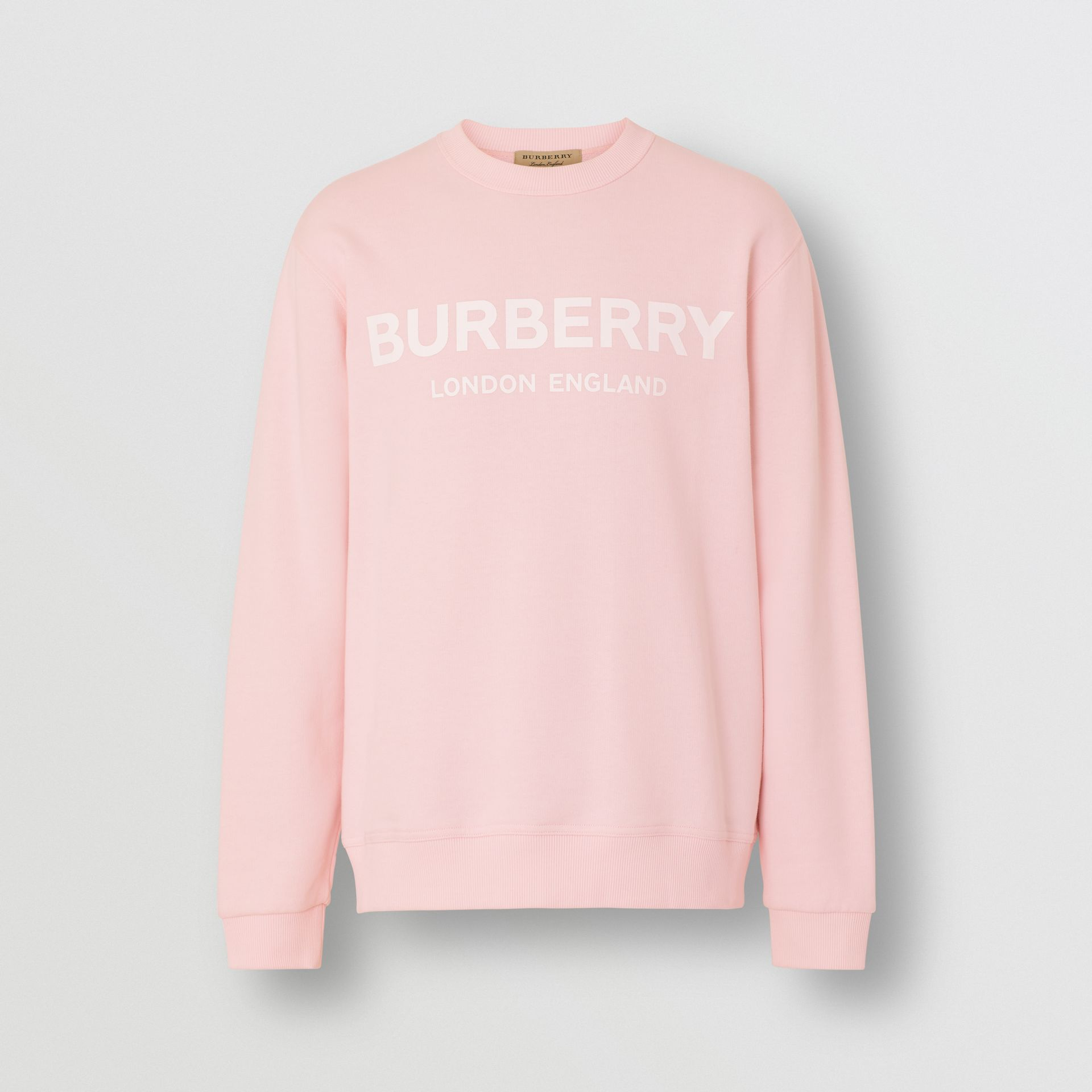 Logo Print Cotton Sweatshirt in Alabaster Pink - Men | Burberry - gallery image 3