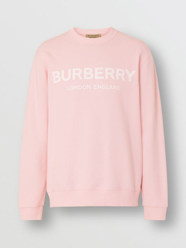 Logo Print Cotton Sweatshirt in Alabaster Pink - Men | Burberry United Kingdom - cell image 3