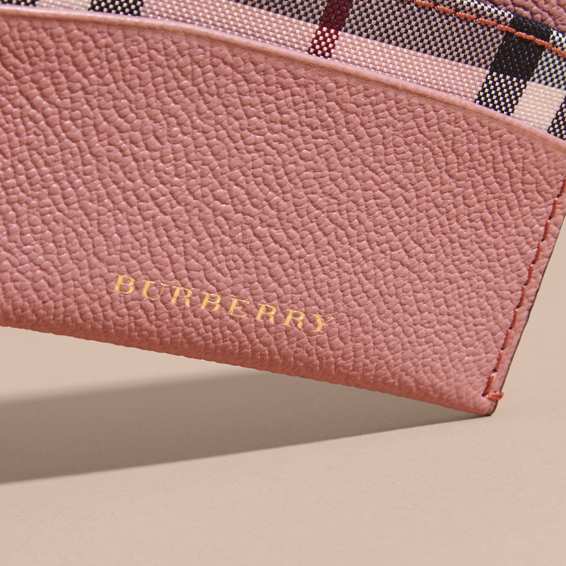 Check and Leather Card Case Ash Rose/ Dusty Pink - gallery image 2