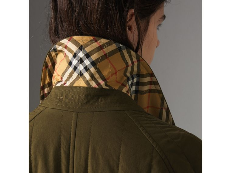 Quilted Tropical Gabardine Car Coat in Dark Military Khaki - Women | Burberry - cell image 4