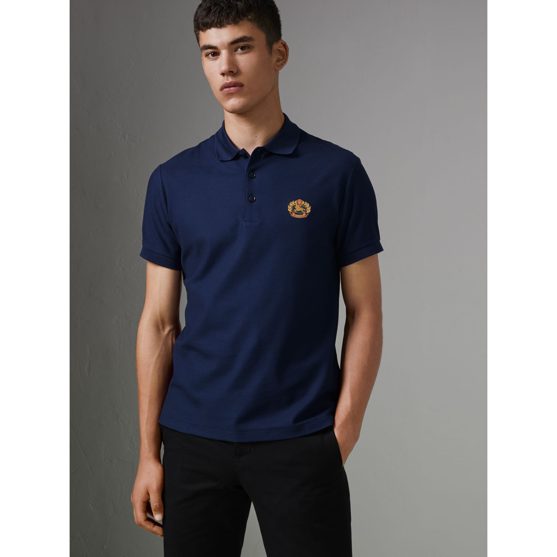Archive Logo Cotton Piqué Polo Shirt in Navy - Men | Burberry United Kingdom - gallery image 4