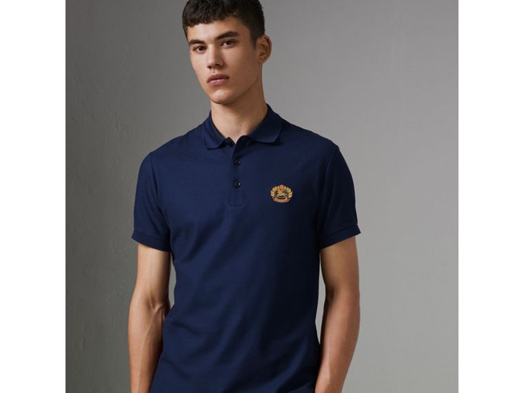 Archive Logo Cotton Piqué Polo Shirt in Navy - Men | Burberry United Kingdom - cell image 4