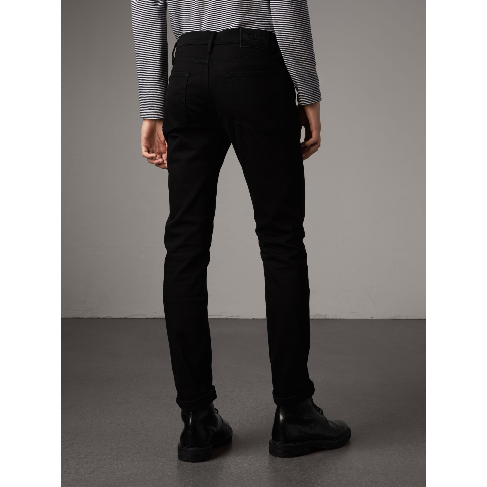 Slim Fit Stretch-denim Jeans in Black - Men | Burberry - gallery image 2