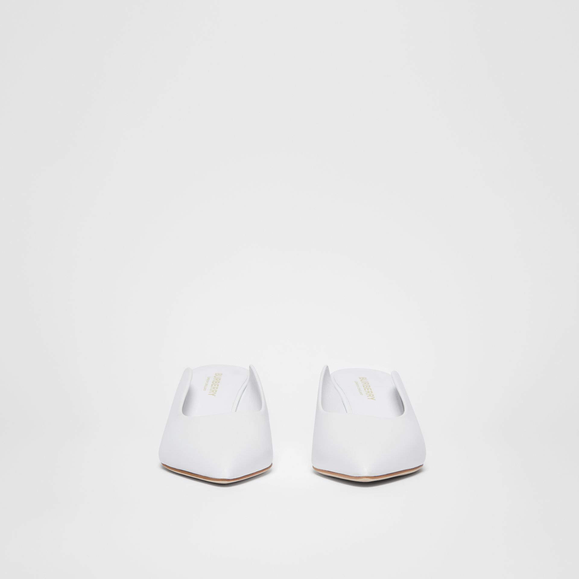 Leather Point-toe Mules in White - Women | Burberry - gallery image 3