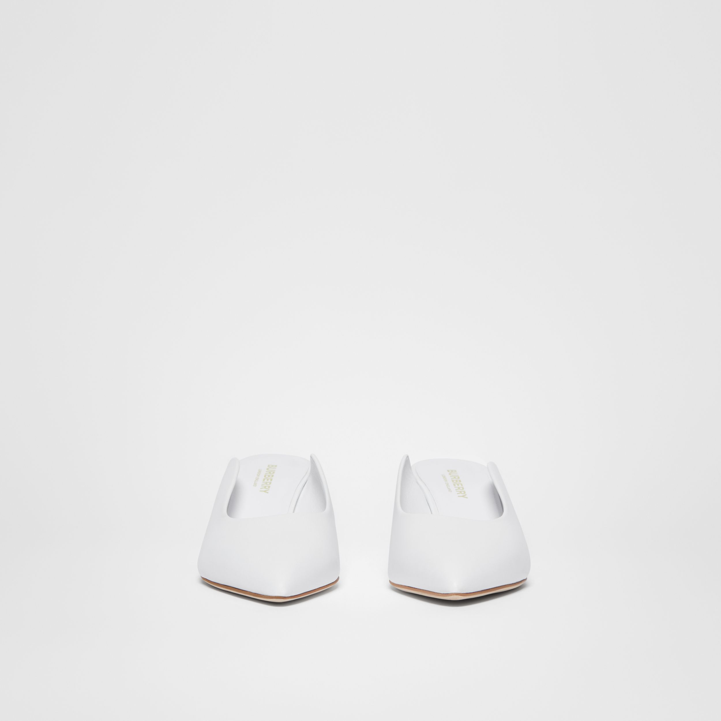 Leather Point-toe Mules in White | Burberry - 4