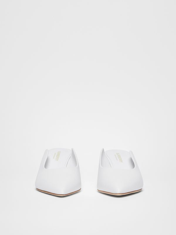 Leather Point-toe Mules in White - Women | Burberry United Kingdom - cell image 3