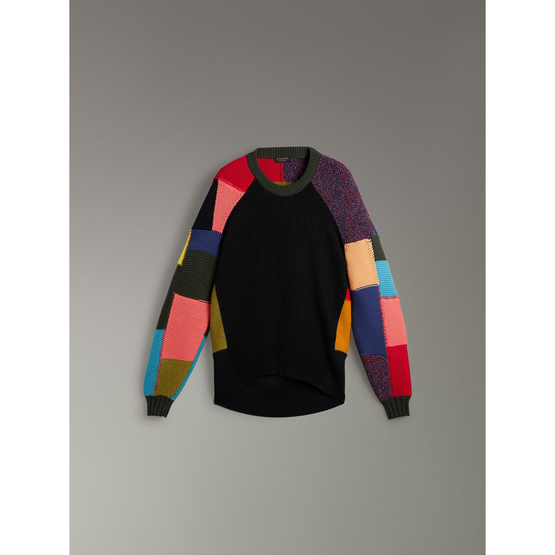 Patchwork Wool Cashmere Blend Sweater in Multicolour - Women | Burberry United Kingdom - gallery image 3