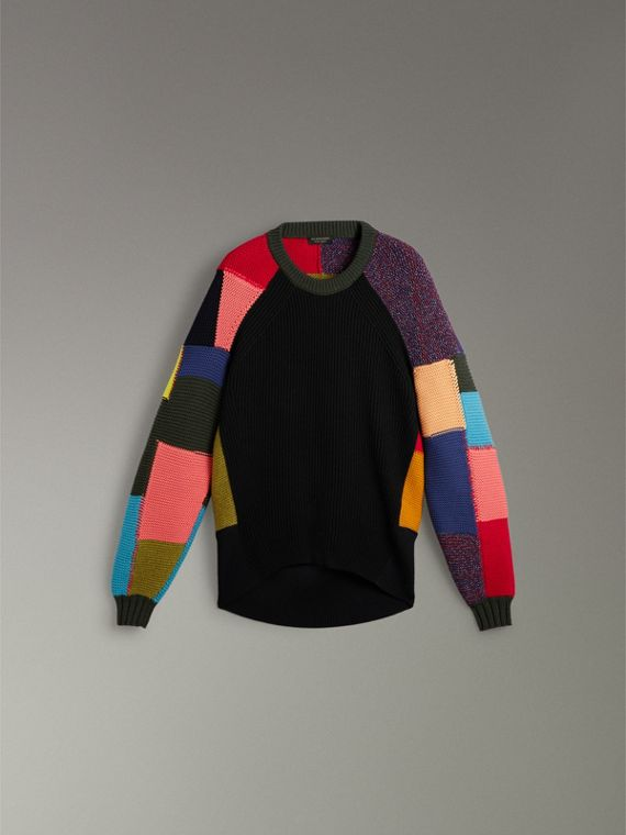 Patchwork Wool Cashmere Blend Sweater in Multicolour - Women | Burberry United Kingdom - cell image 3
