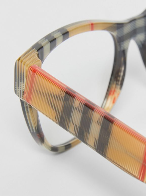 Vintage Check Detail Square Optical Frames in Black/beige - Women | Burberry - cell image 1