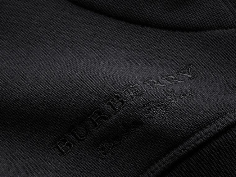 Pallas Helmet Cotton Blend Jersey Hooded Top in Black - Men | Burberry - cell image 1