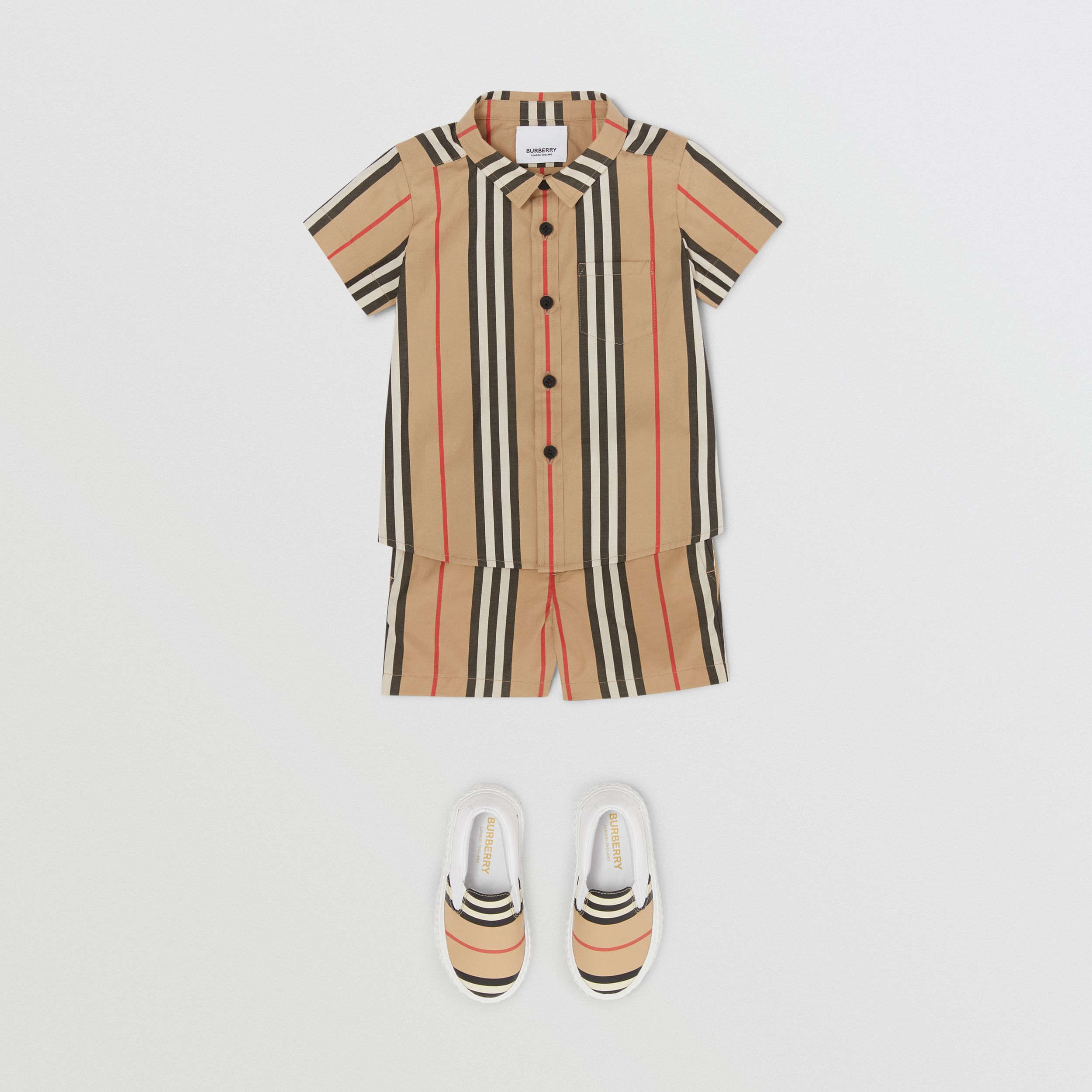 Short-sleeve Icon Stripe Cotton Poplin Shirt in Archive Beige - Children | Burberry - 3