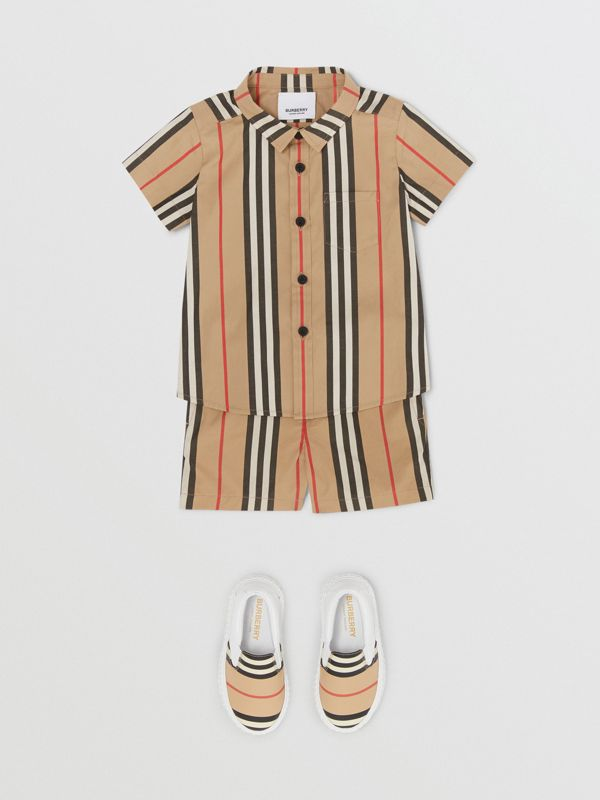 Short-sleeve Icon Stripe Cotton Poplin Shirt in Archive Beige - Children | Burberry United States - cell image 2