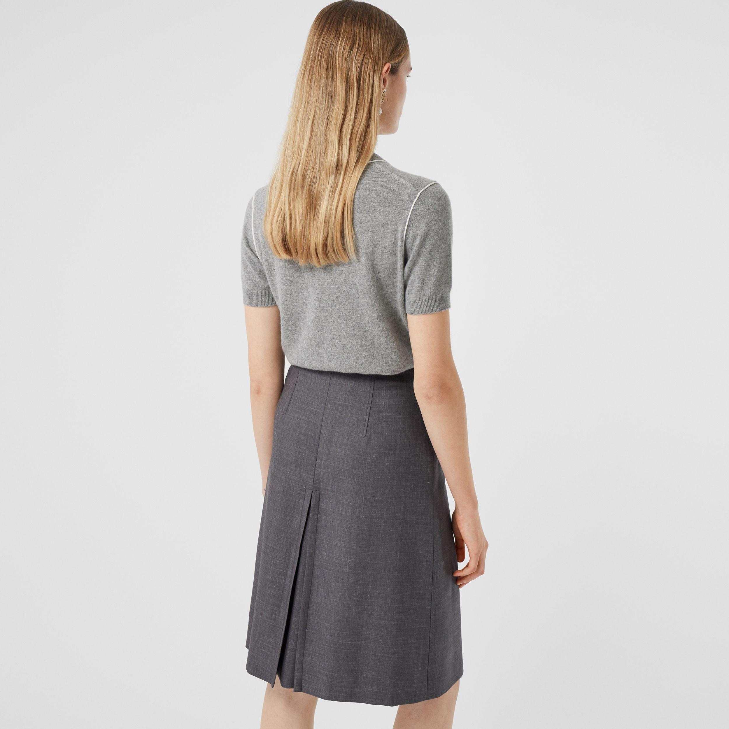 Short-sleeve Monogram Motif Cashmere Top in Grey Melange - Women | Burberry United Kingdom - 3