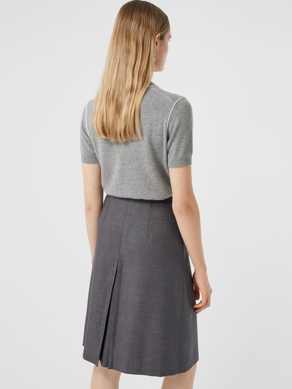 Short-sleeve Monogram Motif Cashmere Top in Grey Melange - Women | Burberry - cell image 2
