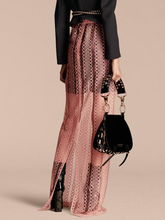 Rosa claro Saia estilo coluna de tule com faixas de bordado - cell image 2