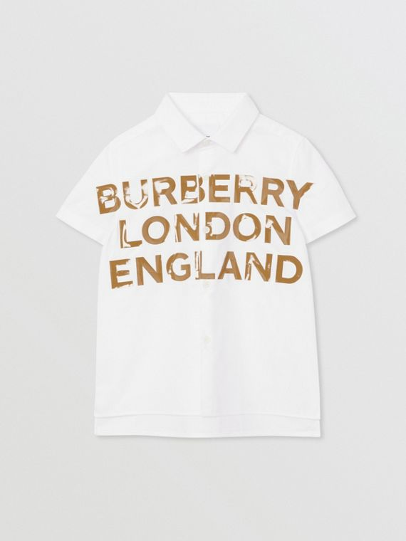 Short-sleeve Logo Print Cotton Oxford Shirt in White
