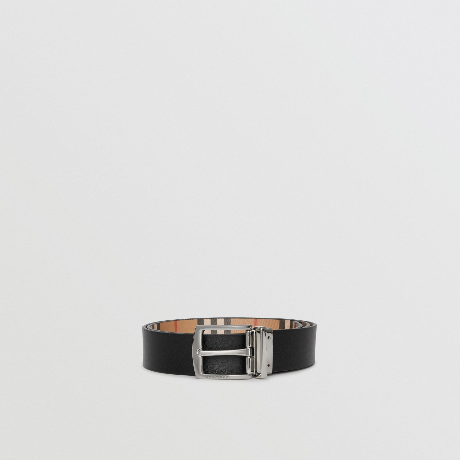 Reversible Vintage Check Leather Belt in Black - Men | Burberry Singapore - gallery image 7