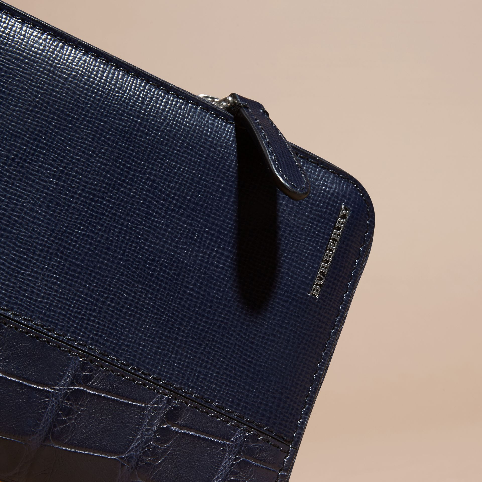 London Leather and Alligator Ziparound Wallet in Dark Navy - gallery image 2