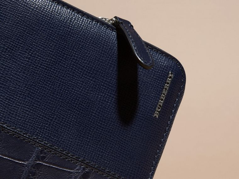 London Leather and Alligator Ziparound Wallet in Dark Navy - Men | Burberry - cell image 1