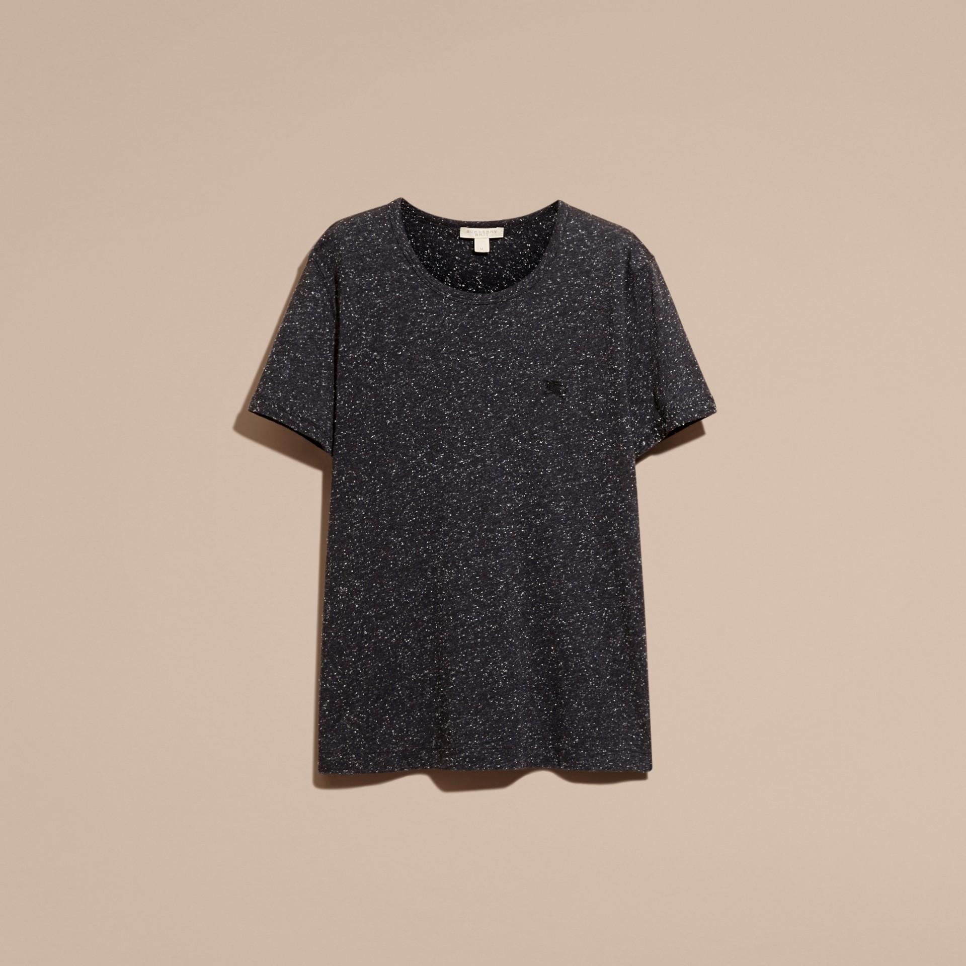 Black Crew Neck Flecked Cotton Jersey T-Shirt Black - gallery image 4