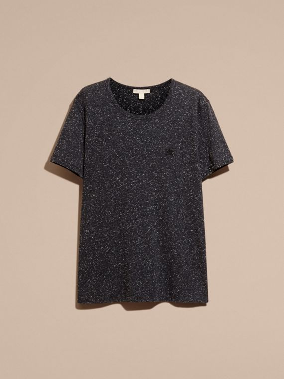 Black Crew Neck Flecked Cotton Jersey T-Shirt Black - cell image 3