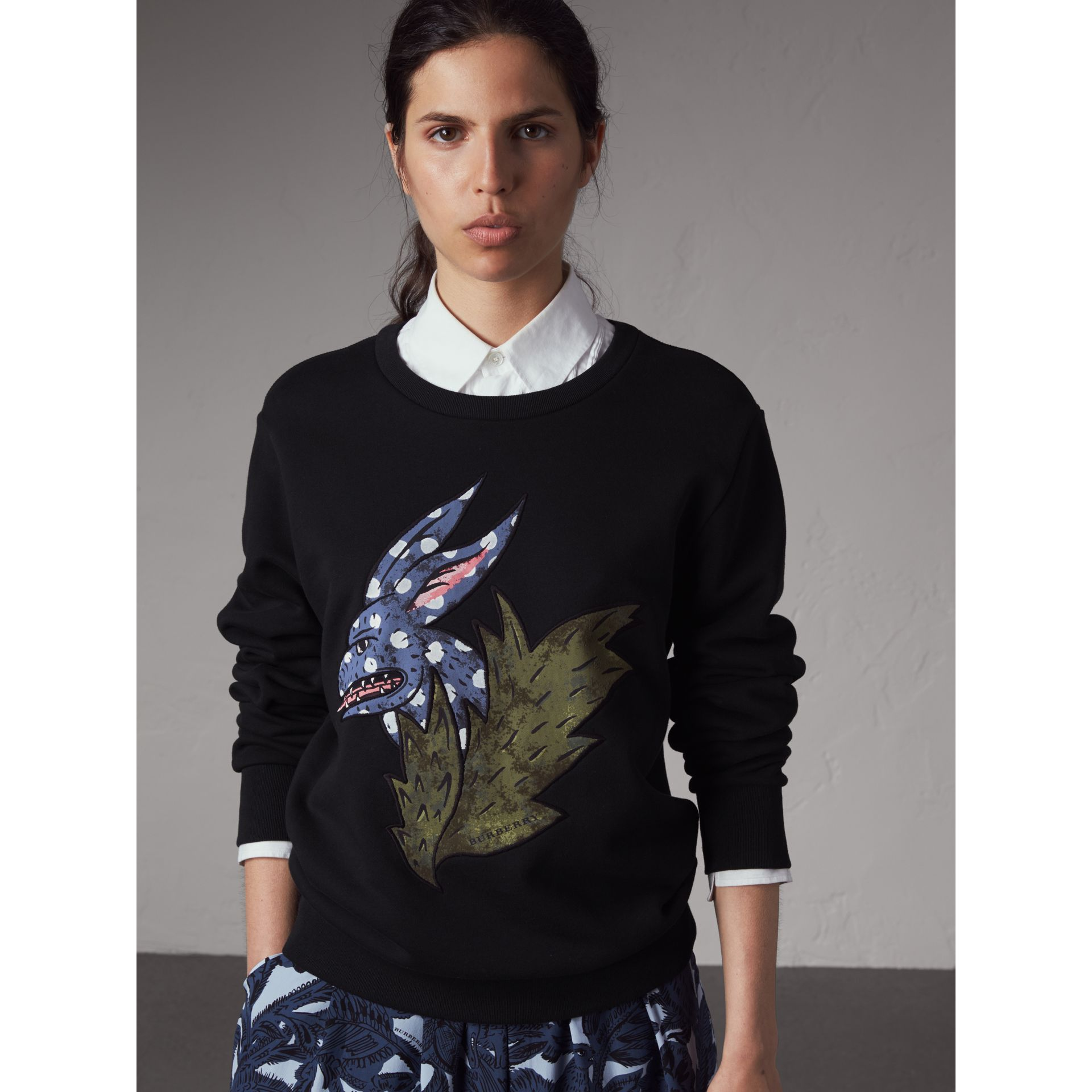 Beasts Motif Cotton Sweatshirt in Black - Women | Burberry Singapore - gallery image 6