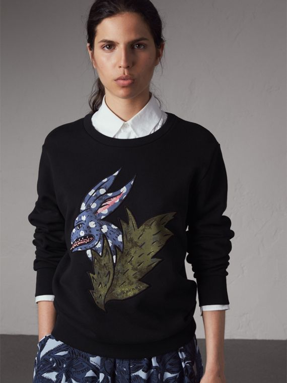 Beasts Motif Cotton Sweatshirt - Women | Burberry Canada