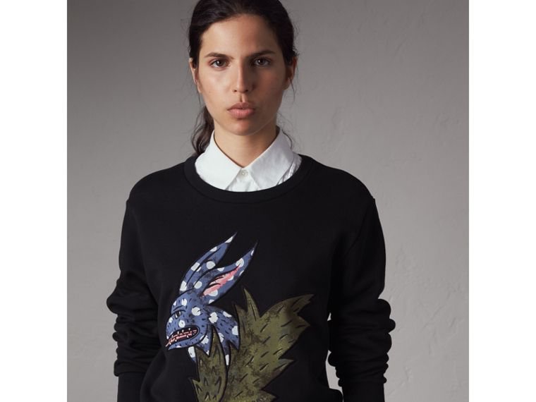 Beasts Motif Cotton Sweatshirt - Women | Burberry Hong Kong - cell image 4