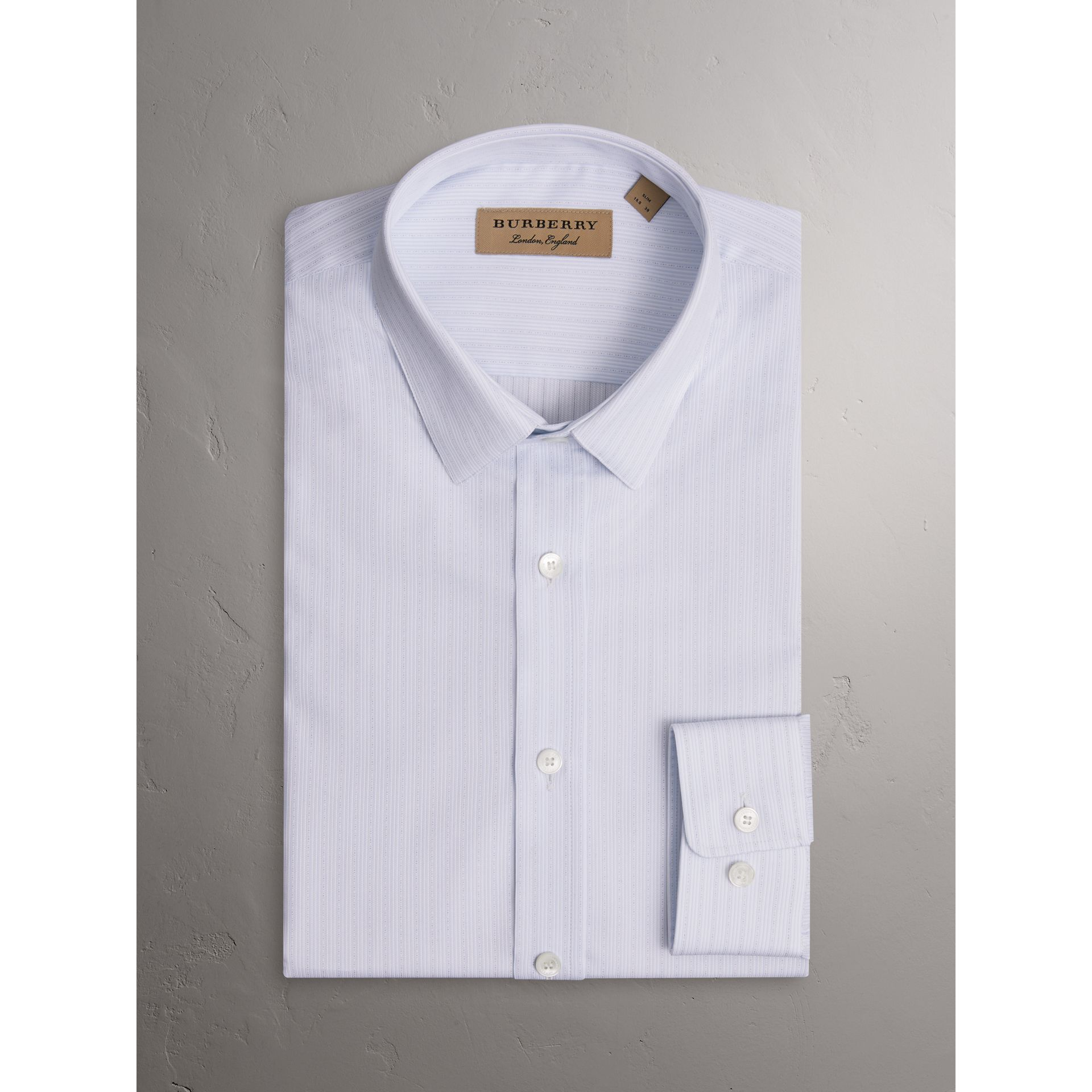 Slim Fit Striped Dobby Cotton Shirt in Light Blue - Men | Burberry - gallery image 3