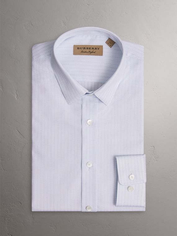 Slim Fit Striped Dobby Cotton Shirt in Light Blue