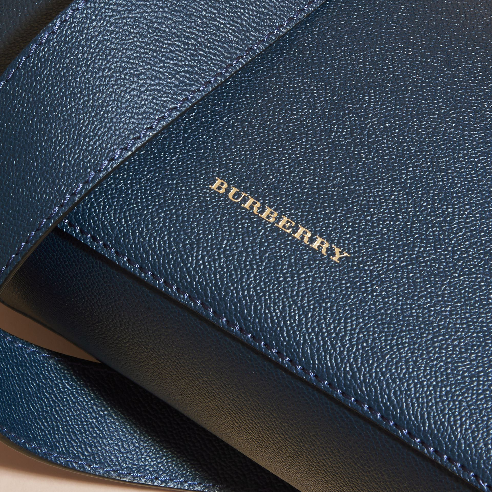 Buckle Detail Leather Crossbody Bag in Blue Carbon - gallery image 6