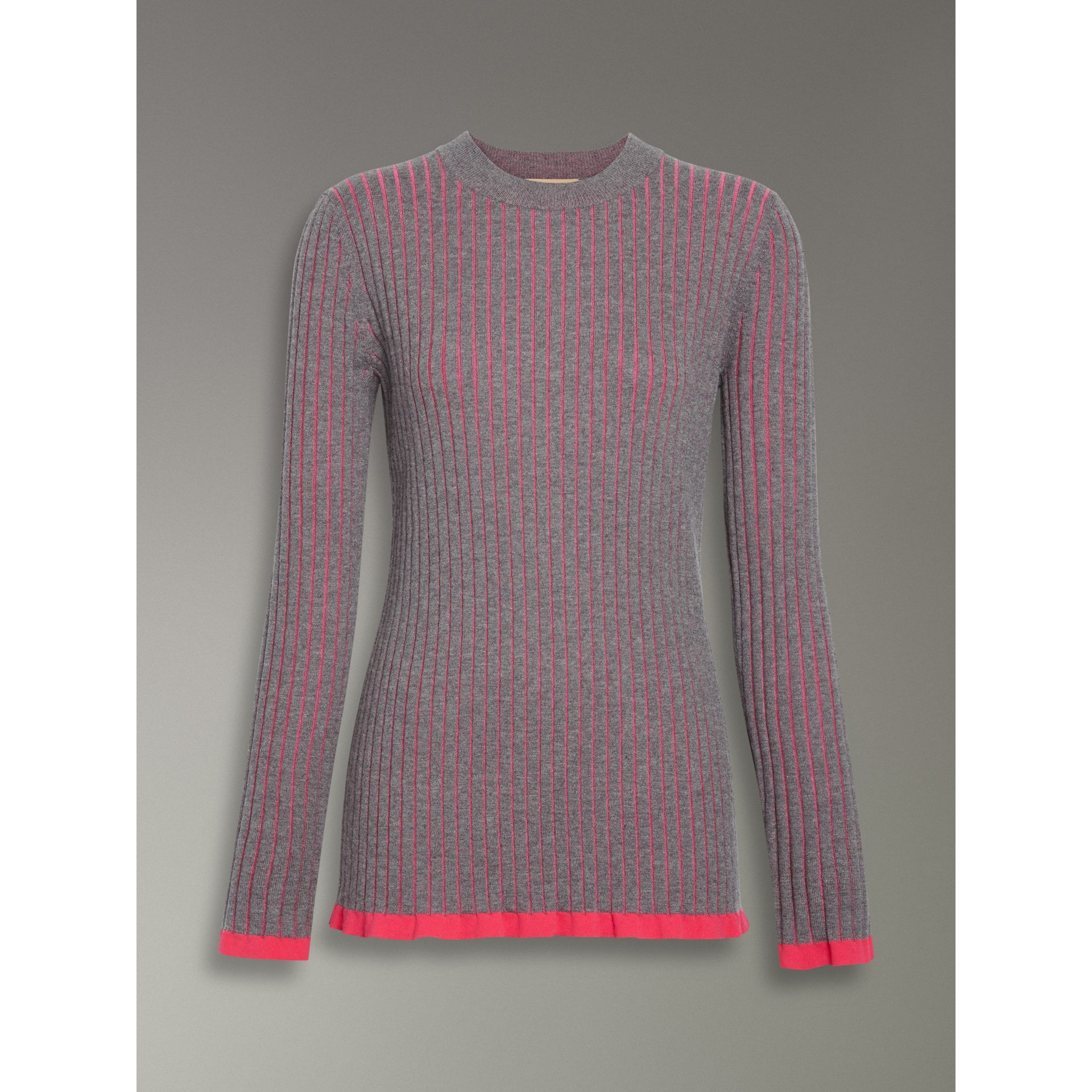 Rib Knit Cashmere Silk Sweater in Grey Melange - Women | Burberry - gallery image 3