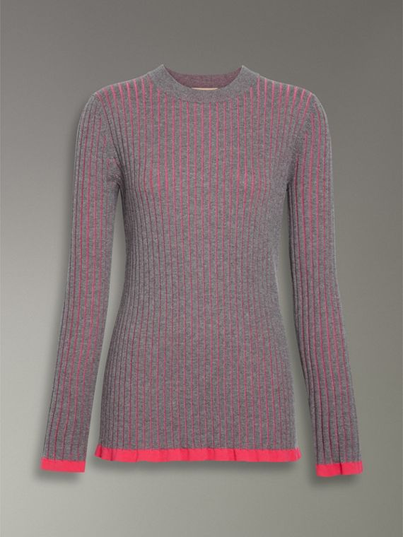 Rib Knit Cashmere Silk Sweater in Grey Melange - Women | Burberry - cell image 3