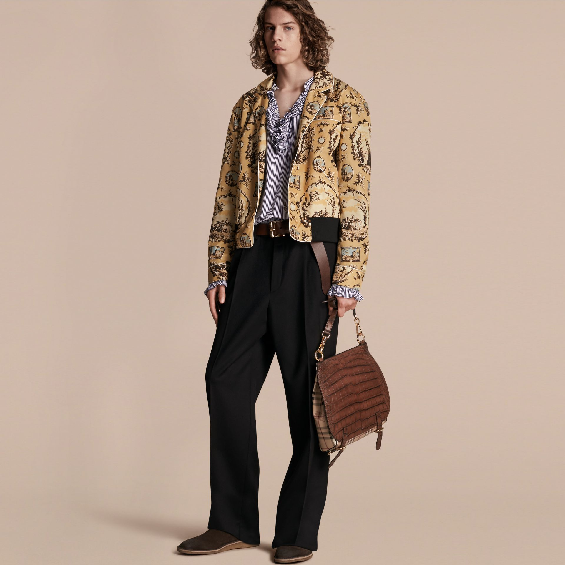 Yellow barley Wallpaper Print Bomber Jacket - gallery image 1