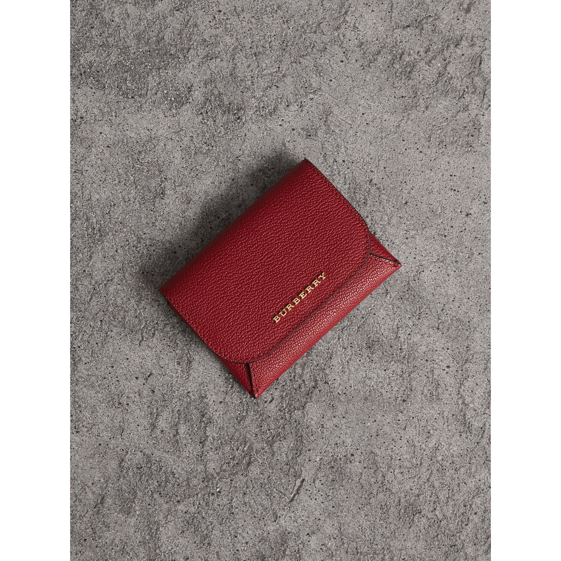 Leather Coin Case with Removable Card Compartment in Parade Red - Women | Burberry - gallery image 1