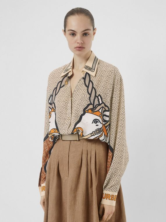 Unicorn and Monogram Print Silk Oversized Shirt in Light Camel