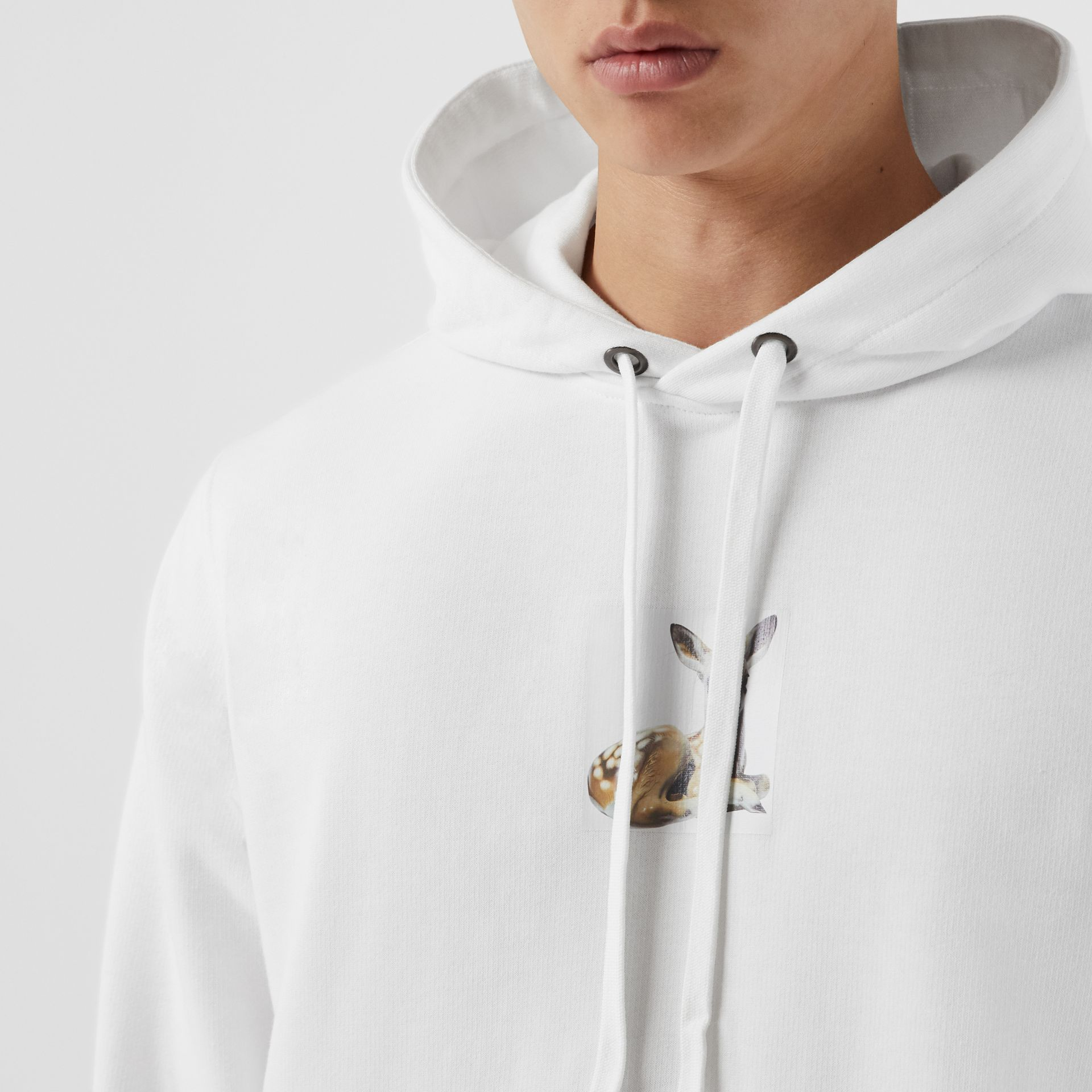 Deer Print Cotton Hoodie in White - Men | Burberry - gallery image 1