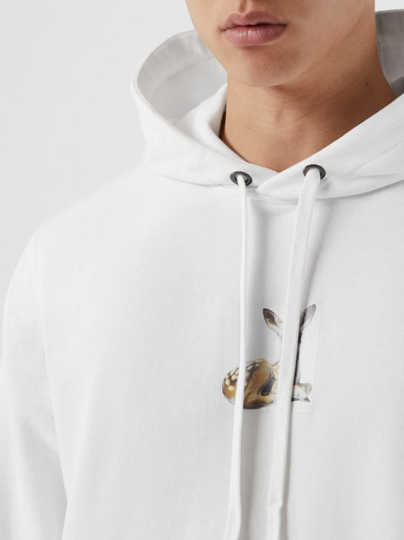 Deer Print Cotton Hoodie in White - Men | Burberry United Kingdom - cell image 1