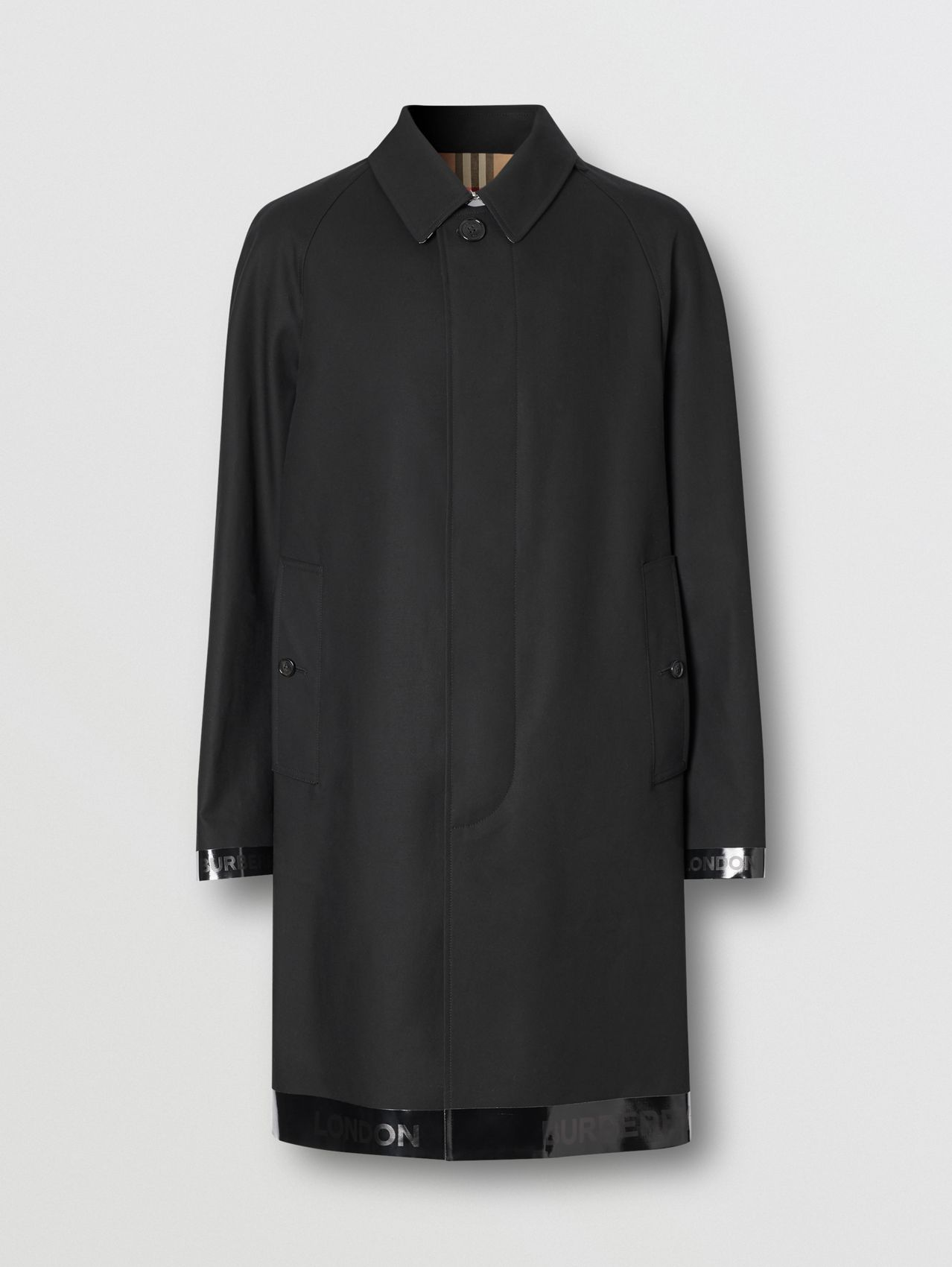 Logo Tape Cotton Car Coat in Black