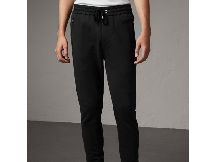 Cotton Sweatpants in Black - Men | Burberry Australia - cell image 4