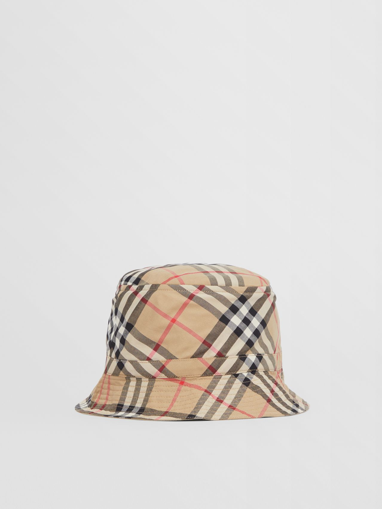 Vintage Check Cotton Bucket Hat in Archive Beige