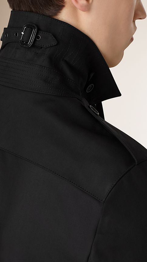 Black Cotton Gabardine Trench Coat - Image 4